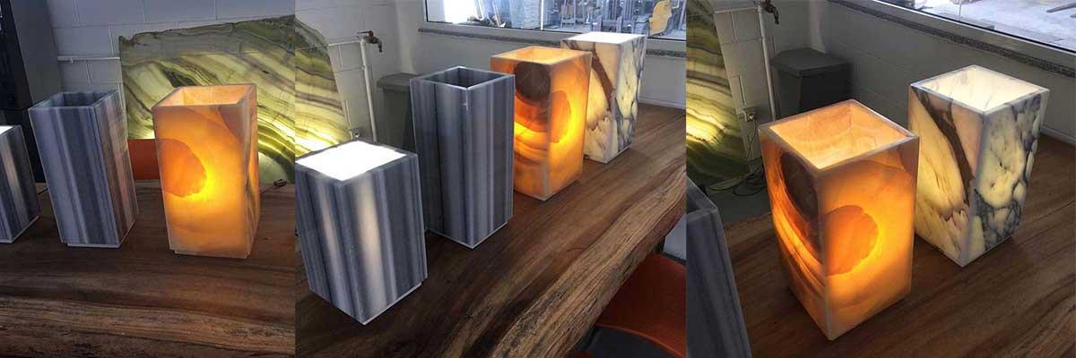lampade onice e marmo testata