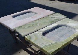 shelves in green and pink onyx