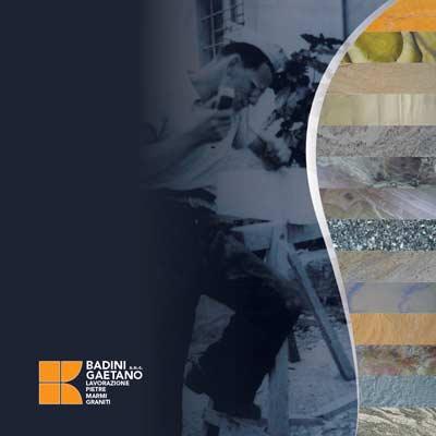 copertina brochure Badini Marmi Graniti Pietre Quarziti